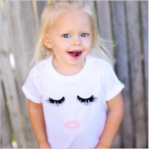 2018 Baby Girls White Sleeping Eye T-shirts Summer Girl Short Sleeve T-shirt Cotton Kids Casual Tee Tops 5pcs lot