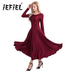 iEFiEL Women Adult Costumes Ballroom Long Sleeves Loose Fit Liturgical Praise Gymnastics Leotard Ballet Womens Dancing Dress
