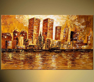 handmade canvas discount palette knife textured oil painting New York city skyline twin towers modern sofa set design canvas painting home d
