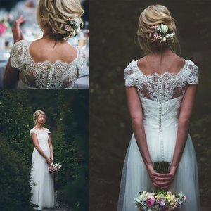 Beach Wedding Dresses Vestido De Novia Forest Boho Long Short Sleeves Scoop Neck Tulle Button Back A Line Bridal Gowns