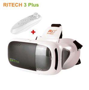 RITECH III RIEM 3 Plus Realidade Virtual Óculos 3D VR fone de Ouvido Capacete Cartão Do Telefone Móvel de Vídeo Cinema + Controle Remoto