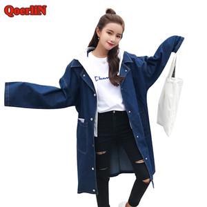 QoerliN Donna Autunno Casual Jeans Outcoat Donna Cappuccio Denim Abrigo Tasca Monopetto Pulsante manica lunga Trench base