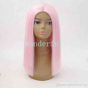 Parrucche sintetiche Parte centrale dritta Bob Bob taglio di capelli parrucca cosplay frontale lunghezza media rosa