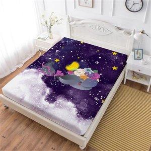 Meereslebewesen Whale Print Bettlaken bunte Blumen Cartoon Spannbetttuch Mädchen Sweet Festival Geschenk Bettwäsche Matratzenbezug