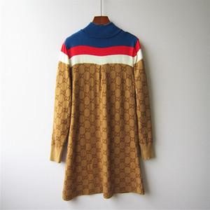 G Correspondance à manches longues Robe famille femmes semi robe haute Zipper Brown lettres tricot jacquard Jupe