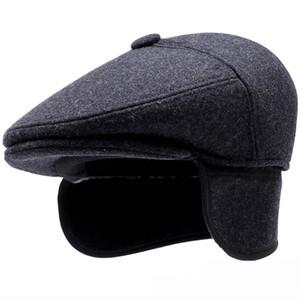 HT1849 Warm Wool Felt Hats Berretti Uomo Autunno Inverno Earflap Cappelli Beret Caps Retro Ivy Flat Newsboy Caps Casual Maschio Papà Hat Cap
