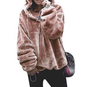 Felpa con cappuccio da donna stile moda chic Felpa oversize con cappuccio tasca grande peluche caldo autunno inverno capispalla donna Top Streetwear