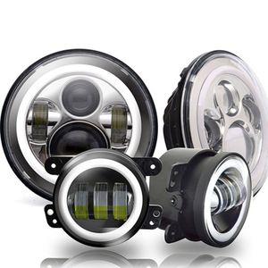 7inch DOT LED Phares Blanc DRL / Ambre Clignotant + 4 pouces LED Fog Lumières Blanc DRL Pour Jeep Wrangler JK LJ Tj CJ 80W Chrome