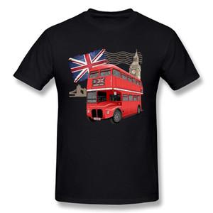 Men's London Background With Red Bus Teeshirt Maniche corte Magliette Mens Magliette Girocollo
