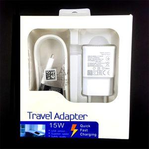 2 em 1 15W adaptativa 100% carregamento rápido EUA / UE viagem carregador de parede + 1.5M Micro cabo USB para Samsung S6 S7 Borda Nota 4 5 Com a caixa