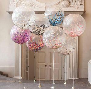Atacado 12-inch Rodada Papel Transparente Balão 2018 New Hot Layout de Casamento Grande Confetti Balões para Festa de Casamento Festa de Aniversário
