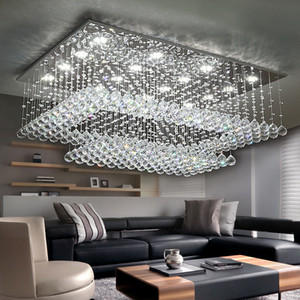 Contemporánea araña de cristal luz de cristal K9 lluvia caída rectángulo de techo accesorios de iluminación LED de montaje empotrado del accesorio de iluminación de sala de estar