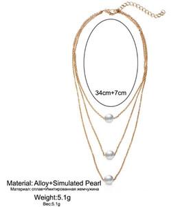 3 계층 단일 진주 목걸이 복고풍 패션 clavicular 체인 목걸이 여성 패션 액세서리 좋은 선물 무료 배송