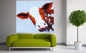 Enmarcado, Rk105 # Puro Pintado a mano Arte abstracto moderno Pintura al óleo CUTE COW FARM ANIMALS, Sobre lienzo de alta calidad Decoración de la pared del hogar Tamaño múltiple