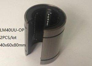 2 unids / lote LM40UU-OP LM40UUOP LM40-OP 40mm tipo abierto buje deslizante lineal rodamientos de movimiento lineal 3d piezas de la impresora cnc router 40x60x80mm