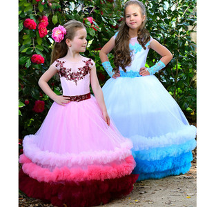 Hot Sale 2019 Multi Flower Girls Dresses For Wedding Appliqued Sequined Toddler Pageant Gowns Floor Length Tulle Ball Gown Kids Prom Dress