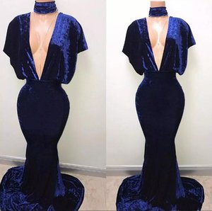 2018 New Royal Blue Velvet Mermaid Prom Dresses Sexy Mergulhando V Neck mangas Bat Longo Trem da varredura Evening Partido Vestidos Especial Ocasião Wear