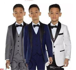 GRAY Boys Tuxedo Boys Dinner Suits Three Piece Boys Black Shawl Lapel Formal Suit Tuxedo for Kids Tuxedo