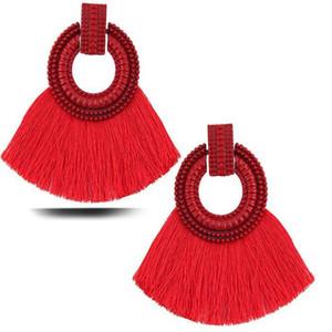 Nuovo Cotone Seta frangia della nappa orecchini per le donne Bohemian forma di ventaglio Dichiarazione ciondola l'orecchino di goccia 8 colori Mix
