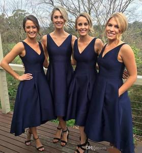 Sexy Navy Blue V-образный вырез Высоких Низкой платья невеста атласный Простой С Карманой горничной честь A-Line Вечерних платьев плюс размере вечерних платьев