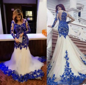 Bleu royal dentelle Applique manches longues robes de soirée sirène pure cou robes de trompette Tulle pour toute occasion spéciale