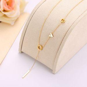 2018 Novo Design carta de amor colares de ouro 18K Rose Gold cadeia de jóias Moda Womens Colar Top Quality por Mulheres
