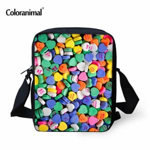 Coloranimal Children Small Messenger Bag Crossbody Bag Kawaii 3D Colorful Loving Candy Printed Mini Shoulder Bags