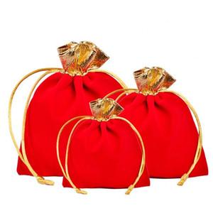 Bolso de la joyería Gules Velvet de la manera del oro del borde de la cuerda que tira del regalo del bolsillo del paquete adorna las bolsas del embalaje para los mejores regalos de la Navidad 0 6cy ZZ