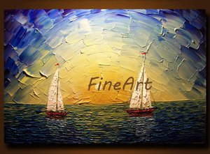 handmade oil painting discount palette knife heavy textured sailing boat seascape oil painting best modern art canvas painting set home deco