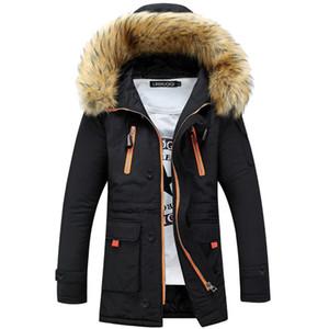 Adisputent Erkekler Modası Kapşonlu Ceket Çok Cepler Kış Sıcak erkek Pamuk Ceket Erkek Rahat Uzun Parka ile Kürk Yaka