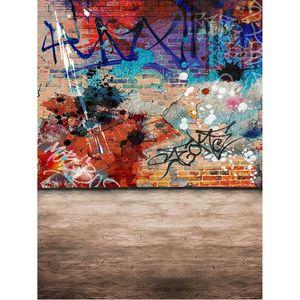 Renkli Boyalı Eski Tuğla Duvar Graffiti Backdrop Fotoğraf Çocuklar Çocuklar için Fotoğraf Stüdyosu Arka Hintergrund Fotografie