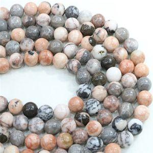 4/6/8 / 10mm Tamaño de selección Natural Pink Zebra Stone Beads Perlas Redondas de Piedra Suelta Strand 15 '' Para Pulsera DIY Jewelry Making material