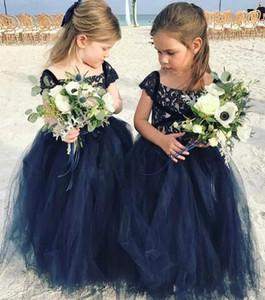 Marineblau Spitze 2018 Arabisch Blumenmädchenkleider Günstige Ballkleid Tüll Kind Brautkleider Vintage Kleines Mädchen Pageant Kleider