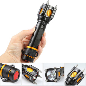 Torcia tattica XML T6 ricaricabile a LED Torcia con 4 torce di attacco SOS Allarme di sicurezza Martello autodifesa all'aperto Ultra Bright Flash Light