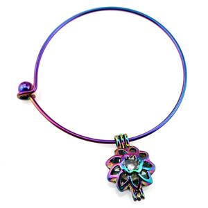 B-C249 Rainbow Sunflower  Cage Locket Wrist Cuff Bangle Girl Women Expandable Wire Steel Bracelet Bangle