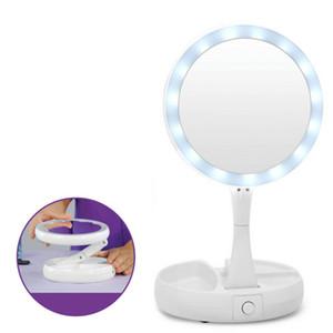 5.5 * 16 см My Fold Away Зеркало для макияжа Двойные боковые LED Складное круглое косметическое зеркало с ящиками белого цвета