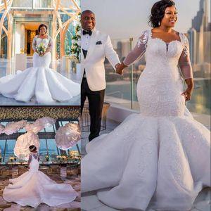 Sul africano sereia vestidos de casamento apliques de renda plus size sheer mangas compridas vestidos de noiva de cetim trem de varredura vestidos de casamento