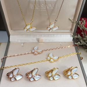 S925 collana pendente in argento sterling con la natura shell gioielli da sposa Girocollo donne con il diamante ed orecchino farfalla collana b