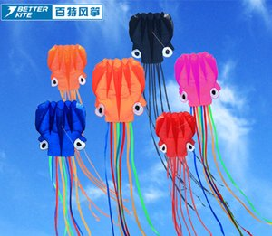 Couleur Tail Parafoil Nylon Flying Pipas 3D Octopus Kite Jouet Simple Ligne Logiciel Stunt Livraison Gratuite