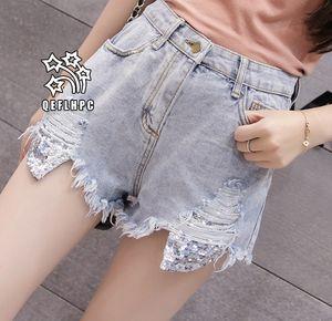 Shorts en denim Pantalons larges pour femmes Vêtements Jeans pour femmes Vêtements mode décontractés Pantalons cowboy Shorts en jean Wathet Hole Ripped A7888