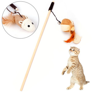 Wholesale 1 PCS Interactive Funny Wooden Cat Teaser Pet Kitten Feather Stick Toys ring ball natural feather long flexible string
