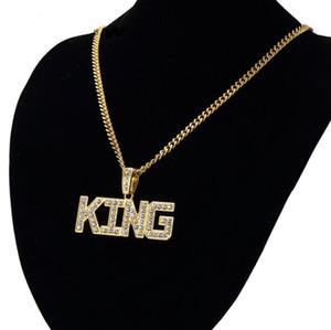 Мужчины Хип-Хоп Полный Горный Хрусталь Письмо Король Форма Подвески Ожерелья Bling Bling Обледенелое Кубинское Звено Цепи Ожерелье Мужчины Ювелирные Изделия Рождественский Подарок