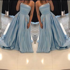 Serenity синей Вечерних платьев 2019 с карманом без бретелек скромного Прома Dreses плюс размера вечерних платьев длиной пола вечерних платьями