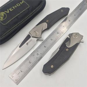 KEVIN JOHN VENIN ATTACKER pliant roulement à billes Flipper Couteau M390 chasse camp de fibre de carbone titane survie outils couteaux extérieurs