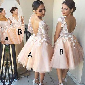 Vestidos de dama de honor 2020 Tul floral de encaje 3D Té de longitud Vestidos de dama de honor para el banquete de boda junior Invitado Vestido de dama de honor Por encargo