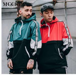 MCCKLE Hommes Windbreak Hoodies Lâche Hip Hop À Capuche Vestes De Mode Lettres Mâle Streetwear Patchwork Couleur Block Pull Manteau