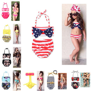 Ins 2-6T Girl's Swimwear One Piece Swimsuit Two-pieces Bikini Swimwear Set Halter Bowknot tube Top+ briefs Bathing Beach Suits NEW 2018 HOT