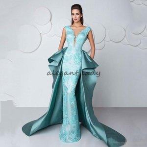 Overskirt Train Formal Celebrity Evening Dresses With V Neck Lace Body Floor Long Fashio Mint Prom Occasion Gowns Custom Made