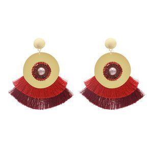 idealway Bohemian Handmade Statement Tropfen-Ohrring-Troddel-Themen-große Ohrringe für Frauen Brautbrautjunfer Ohrschmuck