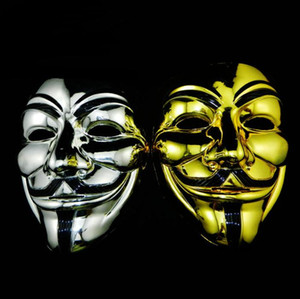 maschera V oro e argento Vendetta black gold Maschera con eyeliner Anonimo Guy Fawkes Fancy Adult Costume Halloween Masks SN426